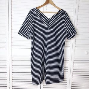 Skies are Blue striped double V dress